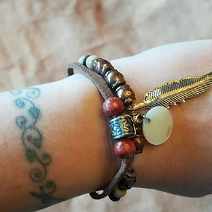 Jewelry - Copper, wood and stone beaded bracelet
